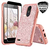 lg 2 phone accessories - TJS LG ARISTO 2/ARISTO 2 Plus/Tribute Dynasty/REBEL 3 LTE/Zone 4/Fortune 2/K8 2018/K8 Plus/Risio 3 Case, [Full Coverage Tempered Glass Screen Protector] Glitter Bling Girls Women Case (Rose Gold)