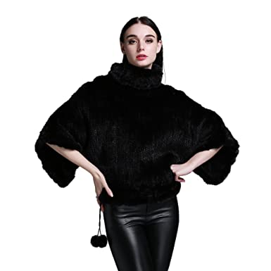 202075465df Fur Story Women's Knitted Fur Coat with Real Mink Fur Pullover Full Sleeve  Mandarin Collar (