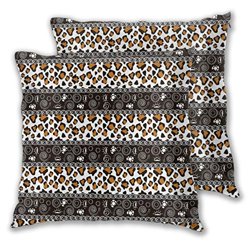 lsrIYzy Decorations Throw Pillow Cushion Cover Set of 2,African Cheetah Pattern with Circles Spiral Exotic Fur Zoo Safari Image,Square Accent Pillow Case 18x18 ()