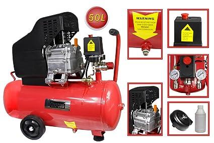 Vetrineinrete® P26 - Compresor de aire con cilindro, depósito de 50 l, motor