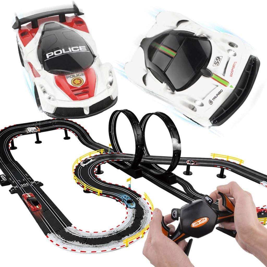 LINGLING-Pista Realizar un seguimiento de la pista de tren de juguete coches de juguete eléctrico del coche del juguete Pista niños pista de coches niño de 3 años Puzzle Antiguo remoto de Navidad de c
