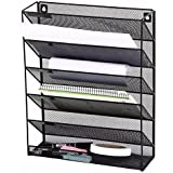 MINIMA Wall Mounted Hanging Shelf 5-Tier Metal Meshed Magazine Organiser Shelf Holder File Organizer for Home and Office