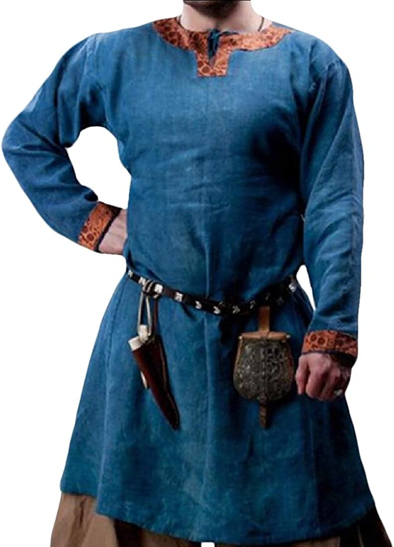 Men Long Sleeve Medieval Renaissance Viking Costume Tunic Tops