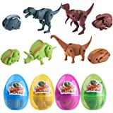 QingQiu 4 Pack Jumbo Dinosaur Deformation Easter Eggs with Toys Inside for Kids Boys Girls Easter Gifts Easter Basket Stuffers Fillers