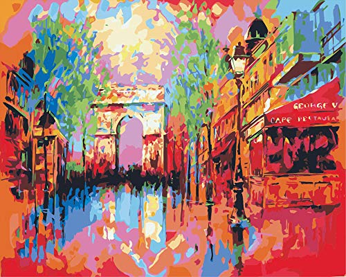 Paint by Numbers for Adults Kits Canvas DIY Acrylic Oil Painting Frameless-Paris Triumphal Arch 16 x 20 Inches