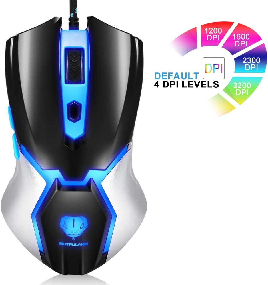 Viwind Computer Mouse Wired [3200 DPI Max] [Programmable] Gaming Ergonomic Game USB Computer Mice Gamer Desktop Laptop PC Gaming Mouse, 6 Buttons for Windows 7/8/10/XP Vista Linux,Mac Black