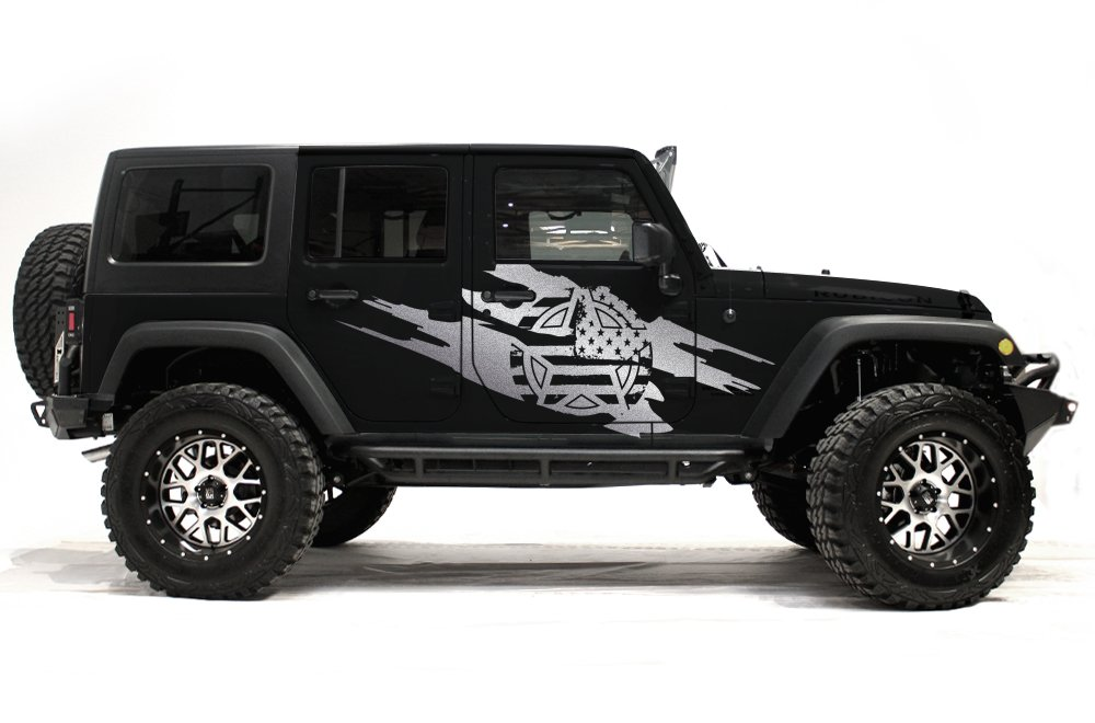 Silver Factory Crafts Jeep Wrangler 2007-2016 4 Door Army Star Torn Graphics 3M Vinyl Decal Wrap Kit