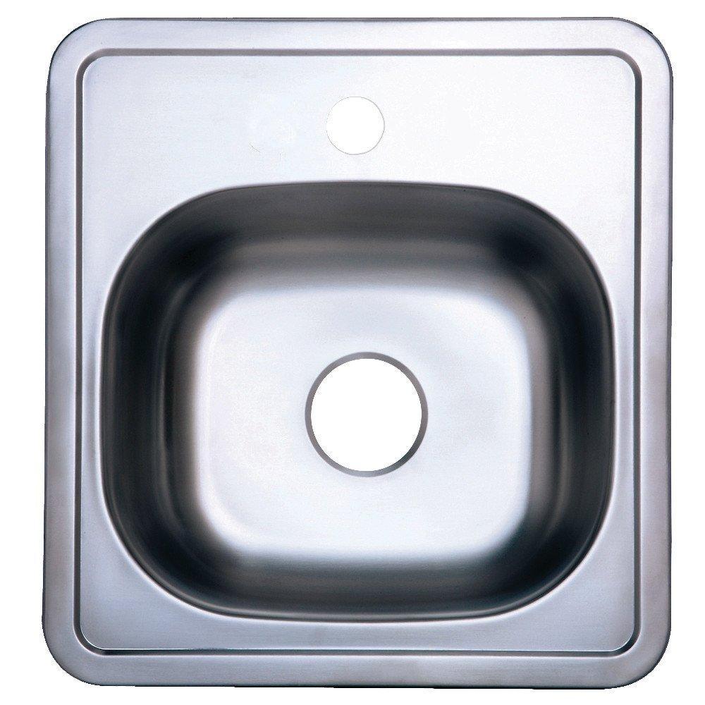 Kingston Brass GKTS15151 Studio Self-Rimming Single Bowl Kitchen Sink 14-15/16'' (L) x 14-15/16'' (W) x 5-11/16'' (D) Brushed