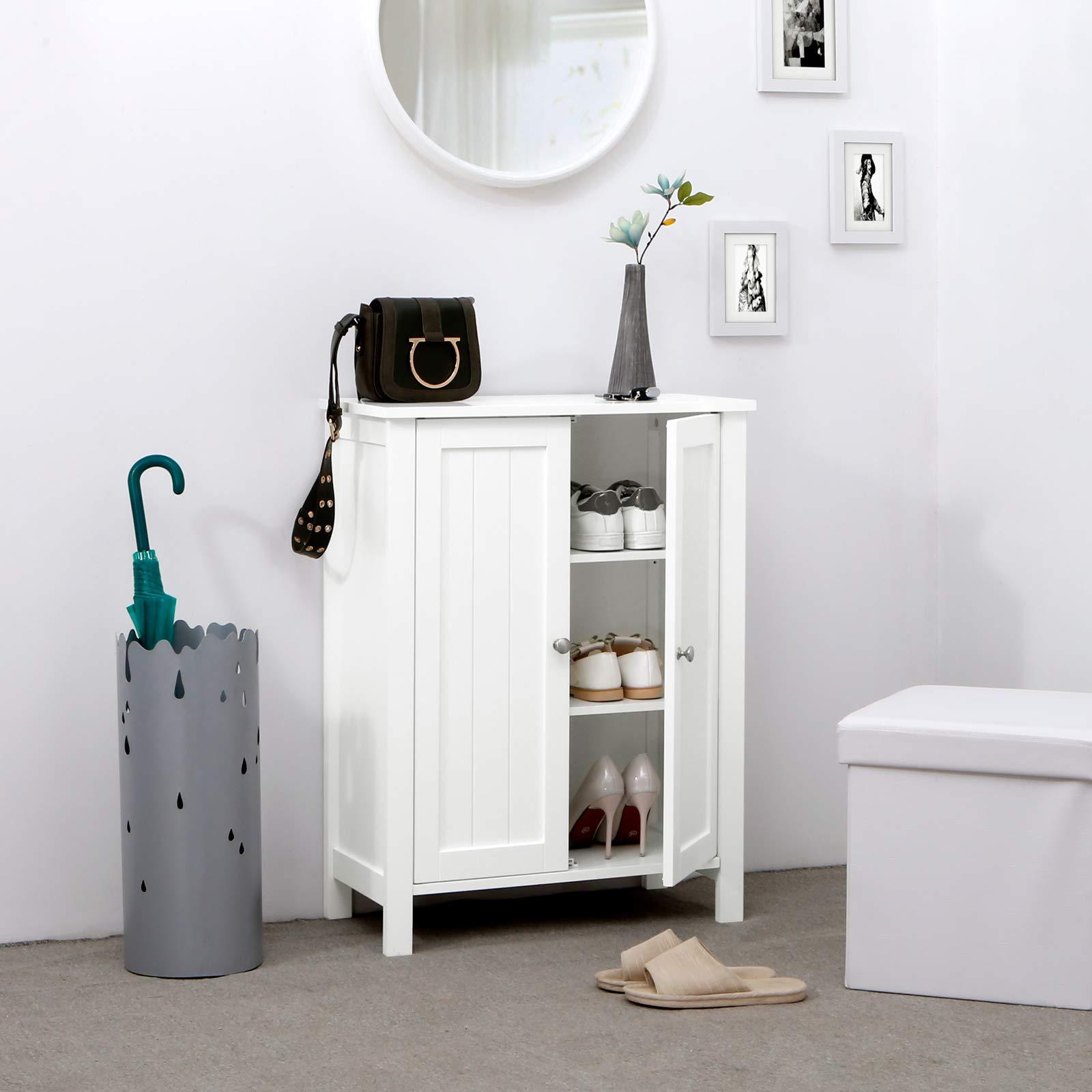 Super Vasagle Bathroom Floor Storage Cabinet With Double Door Adjustable Shelf 23 6 X 11 8 X 31 5 Inches White Ubcb60W Interior Design Ideas Skatsoteloinfo