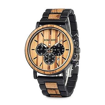 HWCOO Hermosos Relojes De Madera Bobo Bird Reloj de Cuarzo Todo en Madera Reloj de Tres Ojos Reloj de Madera a Prueba de Agua multifunción (Color : 1): ...