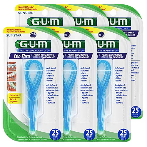 Thru Eez Gum Floss - Gum EEZ-Thru Floss Threaders, 25 Count Pack of 6
