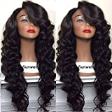 Sunwell Lace Front Wig Body Wave 100% Braizlian Virgin Human Hair Wig 150% Density Natural Color 20 inch