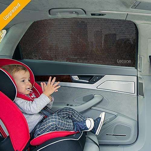 (Lecone Upgraded Car Window Shade, 2nd Generation Reusable Perforated Static Cling Tint Film, Electrostatic Self-Adhesive Sun Blocker Screen for Vehicle, Protect Your Baby Kid & Keep Cool(Pack of)