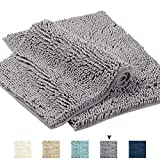 Grey Rugs for Bathroom Machine-Washable Bath Mats with Water Absorbent Soft Microfibers Bathroom Rugs Non Slip Shag Bath Mat for Bedroom Bath Mats for Floors, 17'x 24', Grey, Two Pack