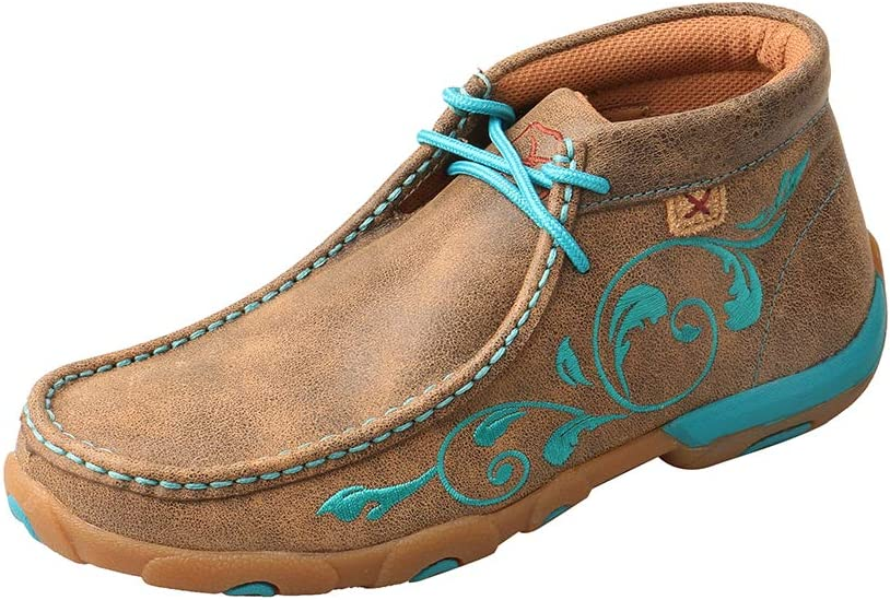 Twisted X Women's Chukka Leather Driving Moccasins, Bomber/Turquoise Flowers, 5.5 Medium