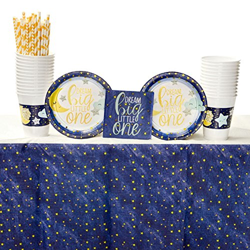 Twinkle Little Star Party Supplies Pack for 16 Guests: Straws, Dessert Plates, Beverage Napkins, Table Cover, and Cups -