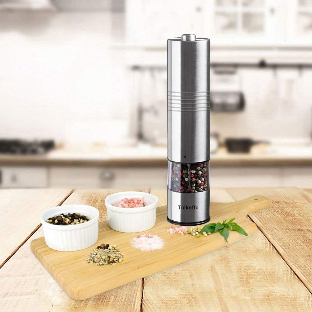 TMKEFFC Electric Salt and Pepper Grinder Set - Battery Operated Stainless Steel Mill with LED Light (Pack of 2 Mills) - Electronic Adjustable Shakers - Ceramic Grinders - Automatic One Handed Operation by TMKEFFC (Image #6)