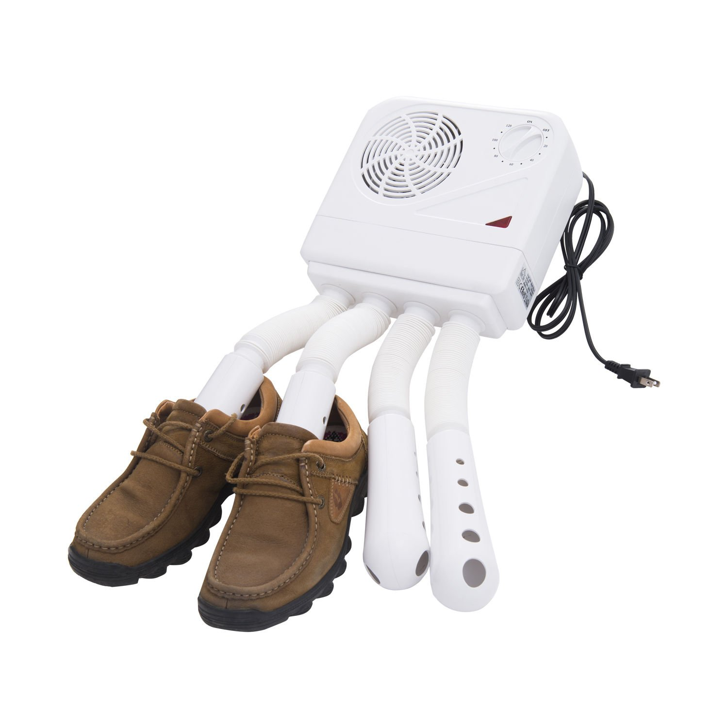 HOMCOM Electric 4 Port 2-Shoe Electric Boot Dryer Warmer Glove Heater With Temperature Control Timer