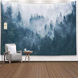 EMMTEEY White Mountain Tapestry,Tapestries Decor Living Room Bedroom for Home by Printed 60x60 Inches for Foggy Mountain Landscape with Fir Forest in Hipster Vintage Retro Style,Grey Green