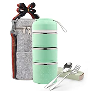 Bento Lunch Box, ArderLive Stainless Steel Insulated Lunch Box with Portable Lunch Bag&Portable utensil, Leakproof Food Storage Container.(3Layer, Green)