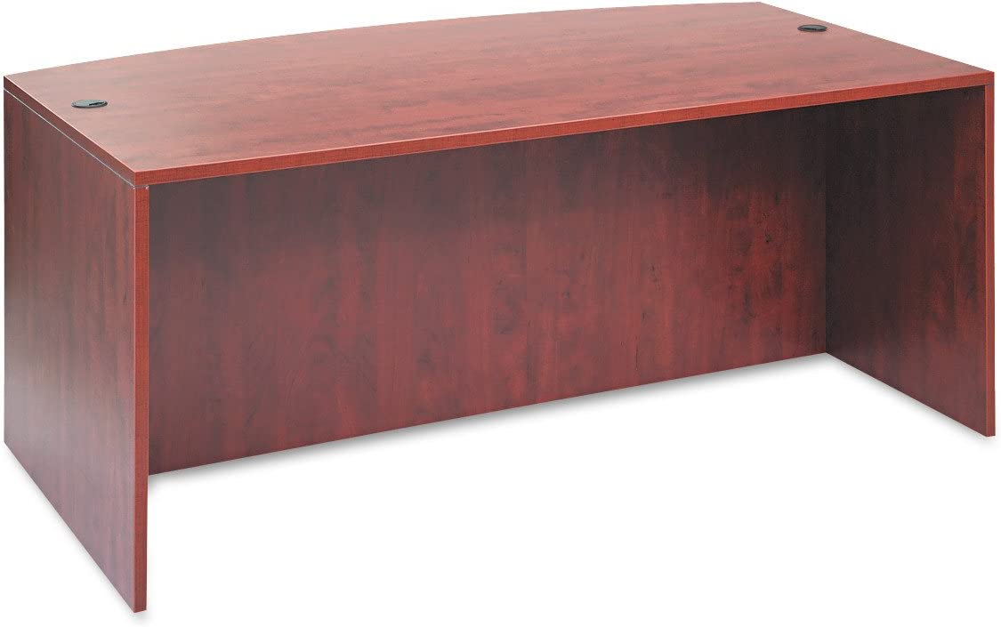 Alera ALE Valencia Bow Desk Shell, 71w x 35 1/2d to 41 3/8d x 29 5/8h, Medium Cherry
