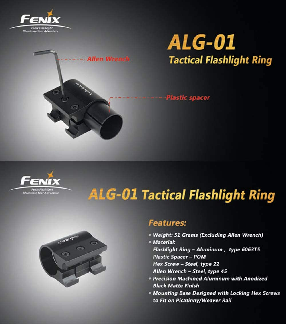 AER-02 Remote Pressure Switch,ALG-01 Rail Mount,Adapter,Battery case Fenix Bundle ALG 00 Mount