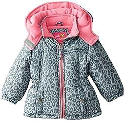Pink Platinum Baby Girls\' Cheetah Print Puffer, Gray, 12 Months