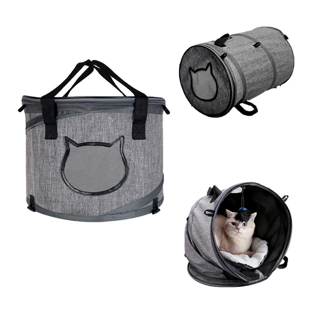 2e34b93ec3be Docamor Premium Airline Approved Soft-Sided Collapsible Portable Pet Cat  Travel Carrier Bag Cage Bed Tunnel with 2 Ventilation