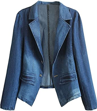bd9f55ac586 Amazon.com  HOOBEE DENIM Women s Long Sleeve Denim Blazer Jacket Suits   Clothing