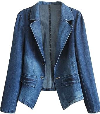 2d7a1a29 Amazon.com: HOOBEE DENIM Women's Long Sleeve Denim Blazer Jacket ...