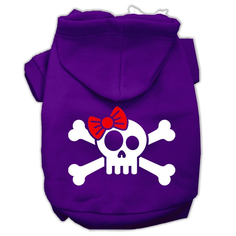 Mirage Pet Products Skull Crossbones Bow Screen Print Pet Hoodies, Size 16, Purple by Mirage Pet Products