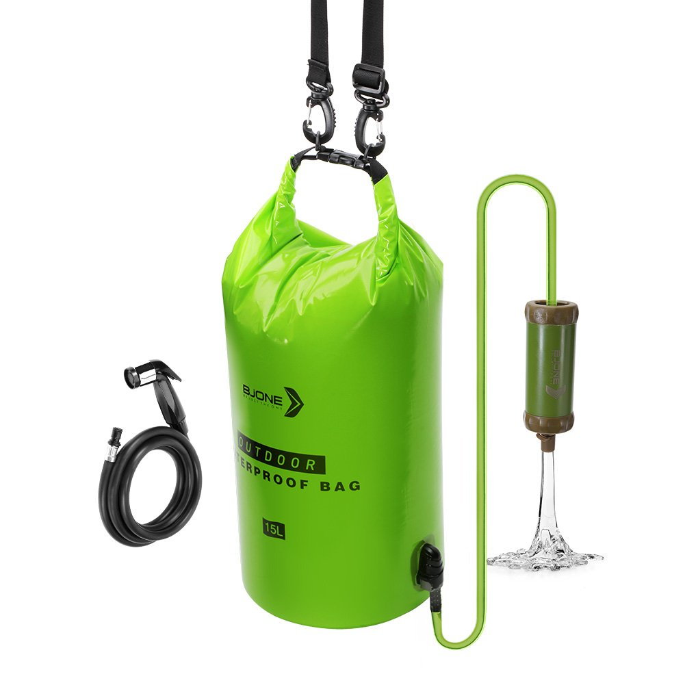 Bjone Water Purification System, 15L High-Volume Gravity-Fed Water Bag with Purifier and Handheld Shower Head with Hose for Camping and Emergency Preparedness by Bjone