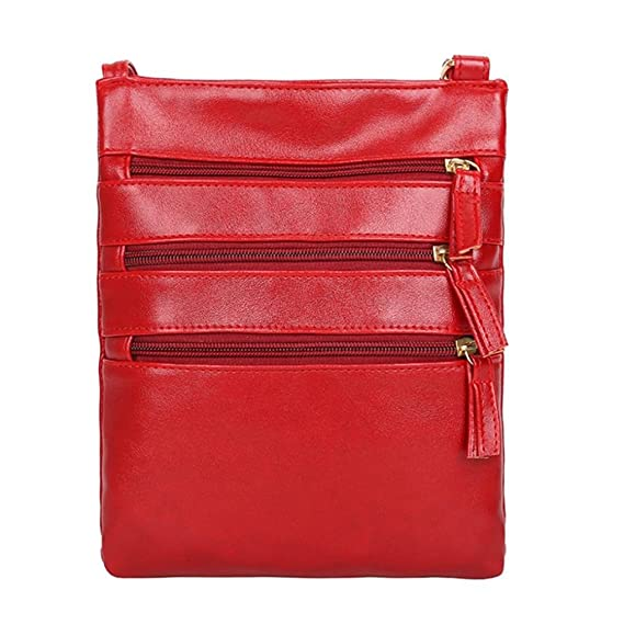 Mujeres de la moda de color puro cuero Crossbody bolsas Messenger hombro Lady Bag ☚Longra
