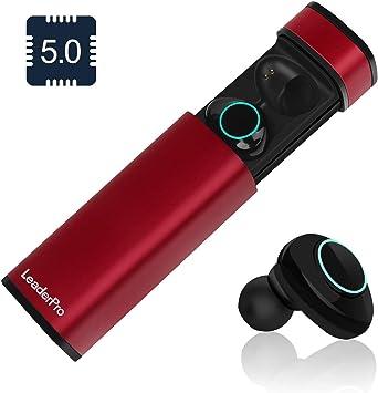 LeaderPro Auriculares In-Ear Mini Auriculares Bluetooth Inalámbricos TWS 5.0 CVC 6.0 con Micrófono y Caja de Carga Arranque automático Carga magnética de Succión para iPhone Samsung(Rojo): Amazon.es: Electrónica