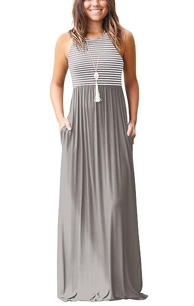 Twippo Vestido Largo Informal Mujer Playas Verano Vestido Maxi Premama Gris S