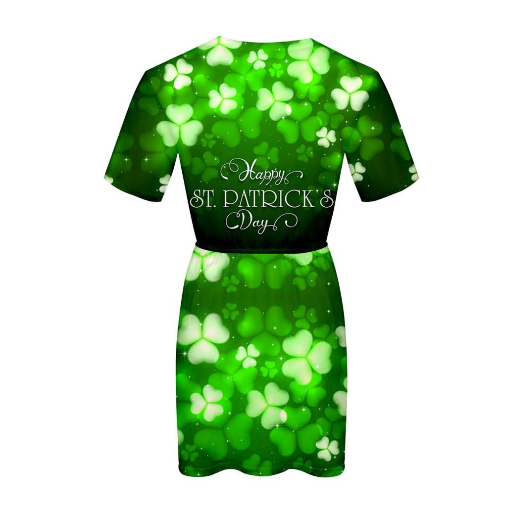 Women O Neck Short Sleeve Green Dress For ST. Patrick's Day By Sagton