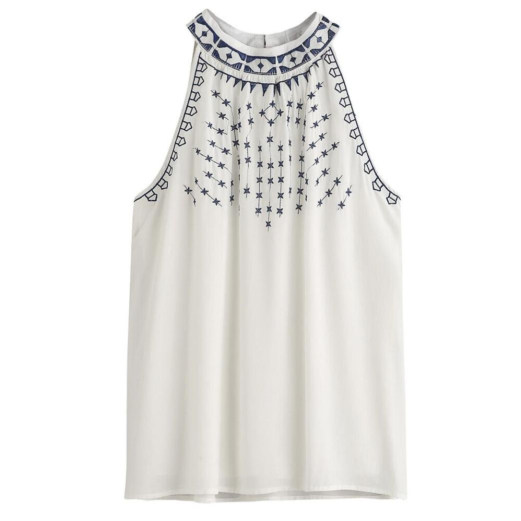 Gillberry Women Summer Embroidered Tank Tops Sleeveless Casual Blouse T-Shirt Gillberry-65876