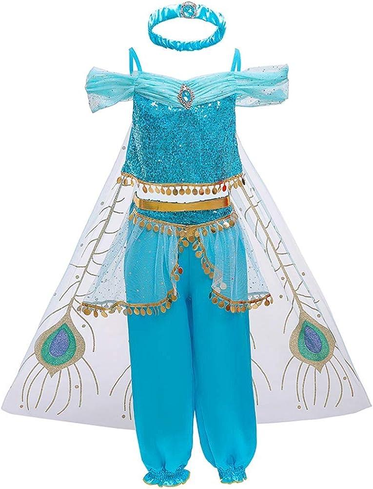 FYMNSI Niña Aladdin Princesa Jasmine Disfraz Tops Pantalones con ...