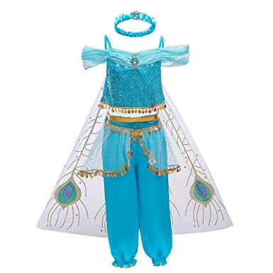 OwlFay - Disfraz de Princesa Jasmine para Carnaval, para niña, con ...
