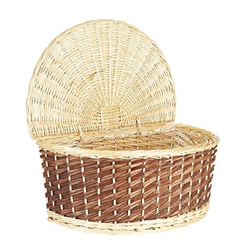 Household Essentials Halfmoon Shallow Wicker Basket with Lid, Light / Dark Brown