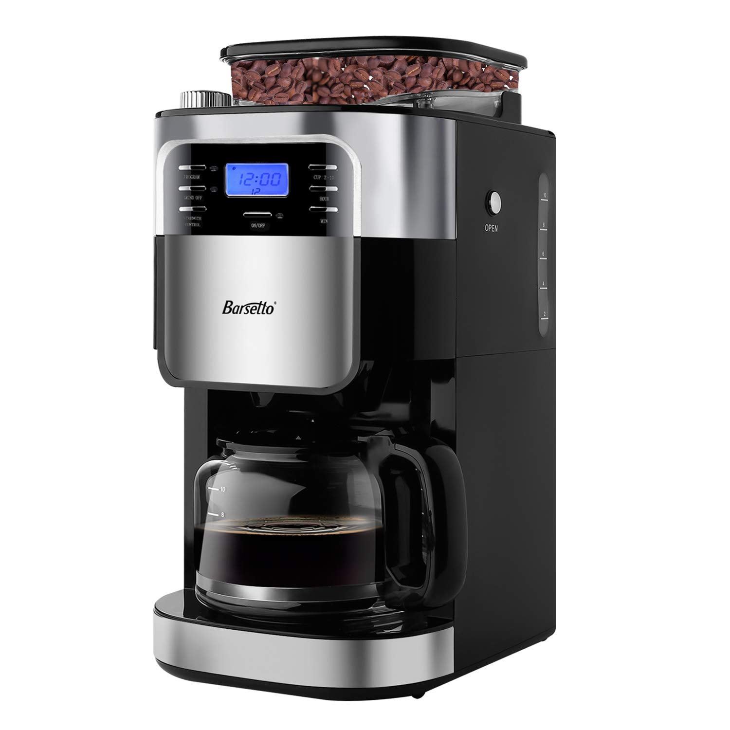 Barsetto Grind and Brew Automatic Coffee Maker with Digital Programmalbe Drip Coffee Machine,10-Cups,Black by Barsetto