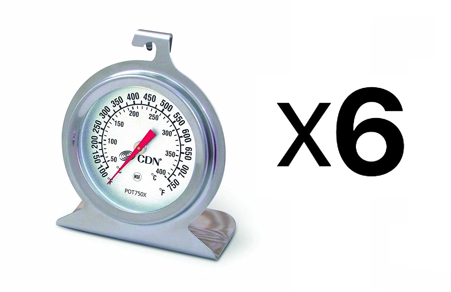 CDN 6 ProAccurate High Heat Oven Thermometer POT750X (6-Pack)