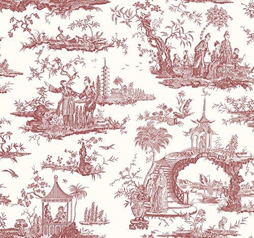 (Wallpaper Designer Van Luit Red Asian Toile on Eggshell White / Large 91.12 Square Foot Triple Roll Bolts)