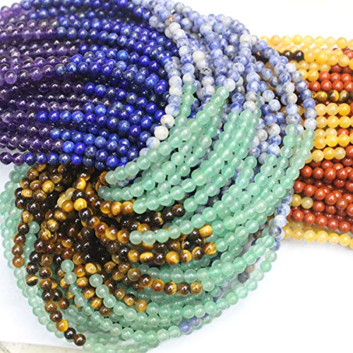Natural Gemstone Beads 6mm Lapis Lazuli Amethyst Yellow Jade Red Jasper Round Semi Precious Beads for DIY Jewerly Making Beads (7 Gemstone Beads, 6mm)