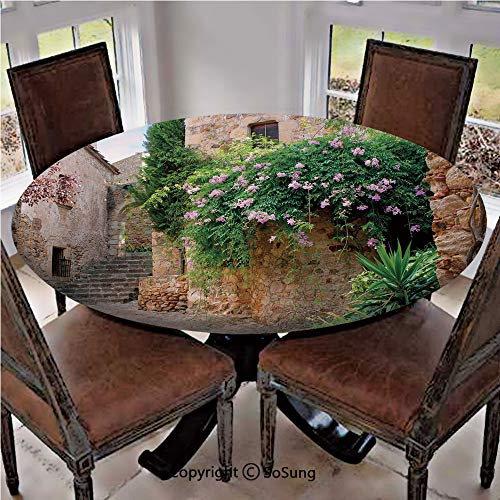 (Elastic Edged Polyester Fitted Table Cover,Summer Garden Flowers Marigold Stones Antique Ancient House in Spain Art Print,Fits up 40