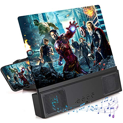 """12"""" Phone Screen Magnifier with Bluetooth Speaker, 3D HD Phone Magnifier Projector Amplifier Screen Enlarger for Movies Videos Gaming with Foldable Stand Compatible with iPhone 11 pro All Smartphone"""