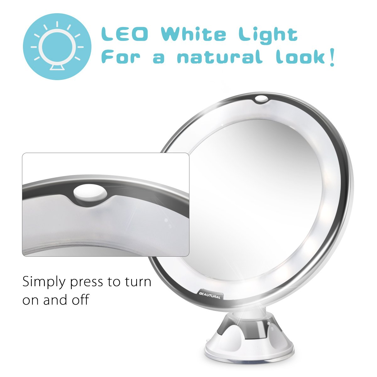 Beautural 10X Magnifying Lighted Vanity Makeup Mirror with Natural White LED, 360 Degree Swivel Rotation and Locking Suction by Beautural (Image #3)