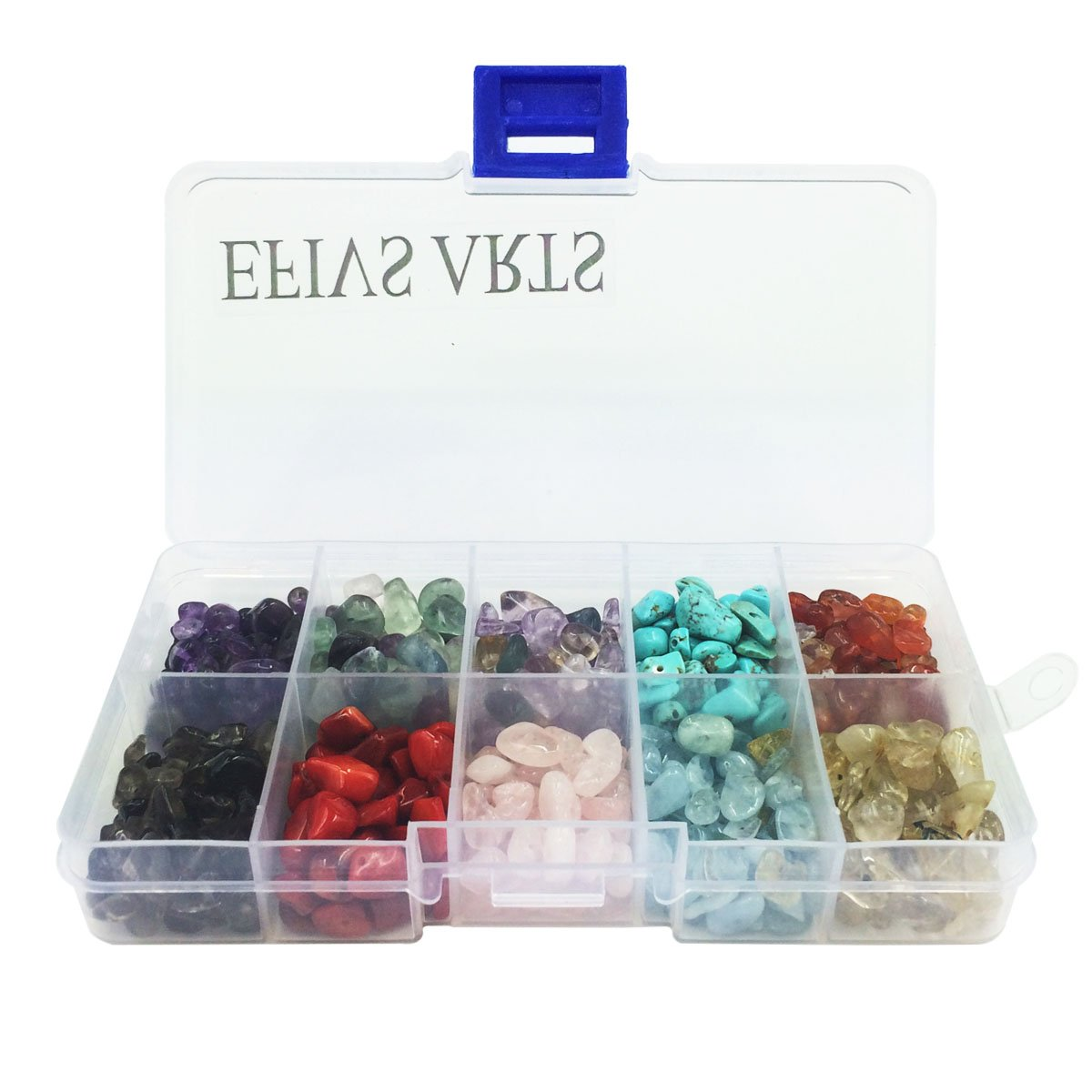 Efivs Arts Natural 10 Assorted Chips Stone Crushed Chunked Crystal Pieces Irregular Shaped Loose Beads in Bulk Value Pack 4336812276