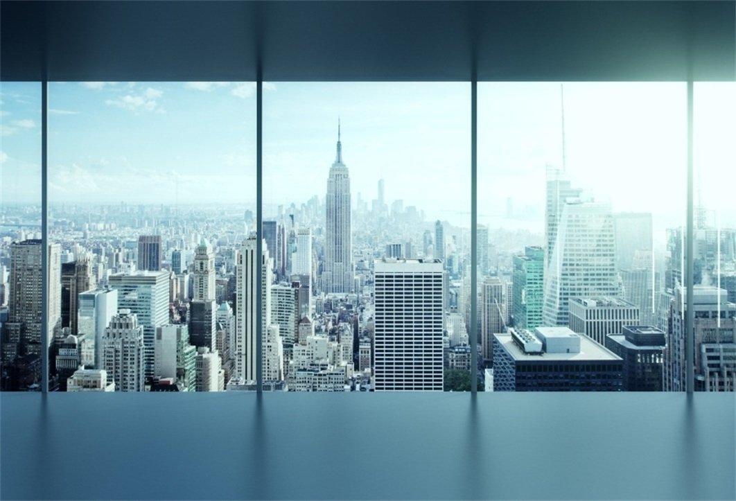 AOFOTO 10x7ft Business Office Sash Window Backdrop French Window Photography Background Casement Work Modern City Building New York Skyscraper Photo Studio Props Success Job Woman Man Vinyl Wallpaper