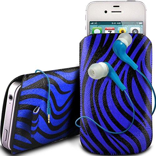 N4U Online - Apple Iphone 5S Protective cuir PU Zebra Conception Pull Tab cordon glisser Housse Etui avec Quick Release et 3,5 mm Intra auriculaires - Bleu